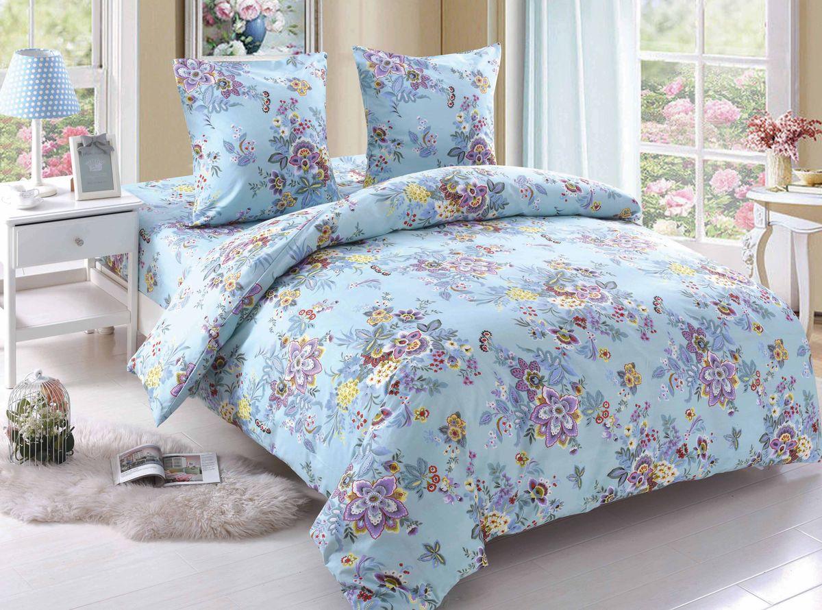 Комплект белья Amore Mio Megan, евро, наволочки 70x70, цвет: голубой комплект белья amore mio light евро наволочки 70х70