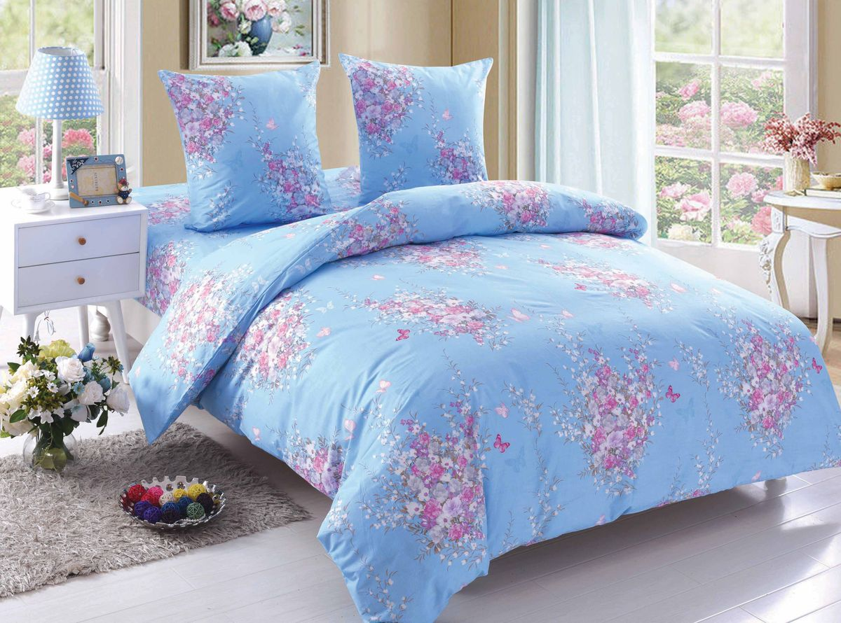 Комплект белья Amore Mio Flora, семейный, наволочки 70x70, цвет: розовый, голубой