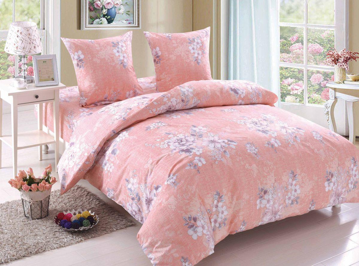 Комплект белья Amore Mio Amelia, семейный, наволочки 70x70, цвет: розовый