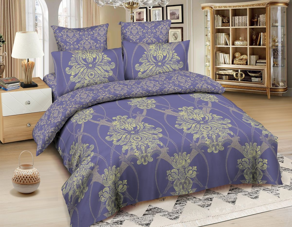 Комплект белья Amore Mio Oslo, 2-спальный, наволочки 70x70, цвет: синий