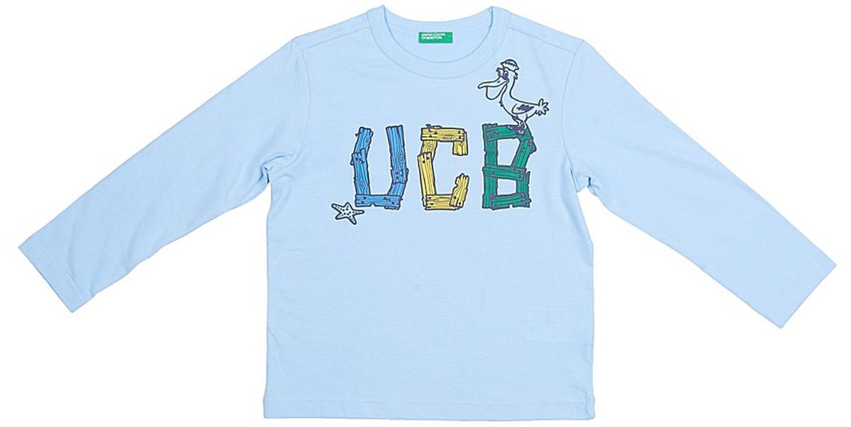 Футболка с длинным рукавом для мальчика United Colors of Benetton, цвет: голубой. 3VR5C187P_20B. Размер 100 футболка с длинным рукавом для мальчика united colors of benetton цвет желтый 3i1xc17fp 35r размер 100