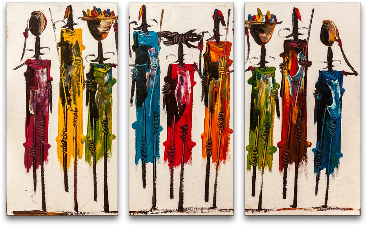 Картина модульная Картиномания Кенийские фигуры, 90 х 57 смАРТ-М136SМодульная картина Картиномания - это прекрасное решение для декора помещения. Картинасостоит из трех модулей. Цифровая печать. Холст натянут на деревянный подрамникгалерейной натяжкой и закреплен с обратной стороны. Изделие устойчиво к выцветанию.В состав входит комплект креплений и инструкция по креплению на стену.Уход: можно протирать сухой мягкой тканью.