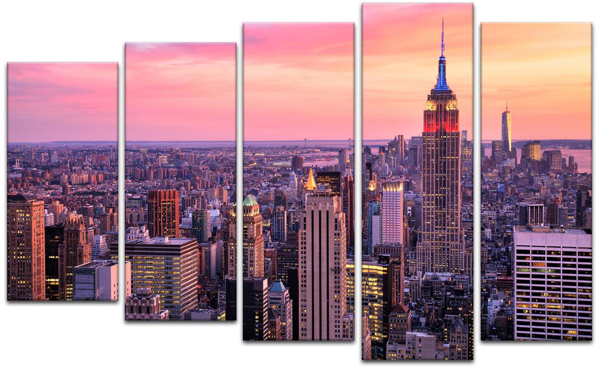 Картина модульная Картиномания Закат в центре Нью-Йорка, 90 х 57 смАРТ-М144SМодульная картина Картиномания - это прекрасное решение для декора помещения. Картинасостоит из пяти модулей. Цифровая печать. Холст натянут на деревянный подрамникгалерейной натяжкой и закреплен с обратной стороны. Изделие устойчиво к выцветанию. В состав входит комплект креплений и инструкция по креплению на стену.Уход: можно протирать сухой мягкой тканью.