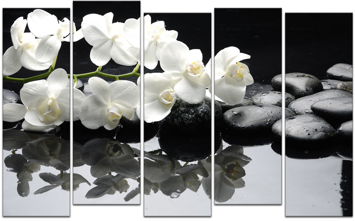 Картина модульная Картиномания Белые орхидеи и черные камни, 90 х 57 смАРТ-М180SМодульная картина Картиномания - это прекрасное решение для декора помещения. Картинасостоит из пяти модулей. Цифровая печать. Холст натянут на деревянный подрамникгалерейной натяжкой и закреплен с обратной стороны. Изделие устойчиво к выцветанию.Размер изображения: 90 x 57 см.В состав входит комплект креплений и инструкция по креплению на стену.Уход: можно протирать сухой мягкой тканью.