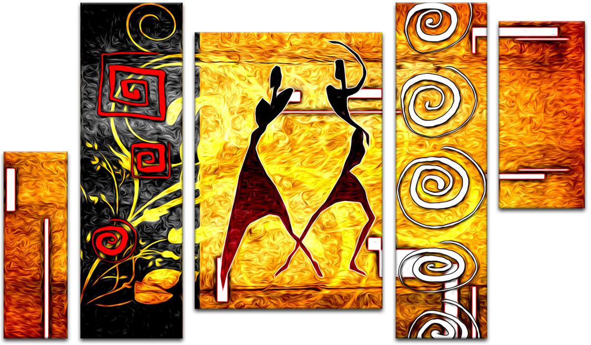 Картина модульная Картиномания Две танцующие африканки этническое ретро, 90 х 57 смАРТ-М267SВ состав входит комплект креплений и инструкция по креплению на стену.