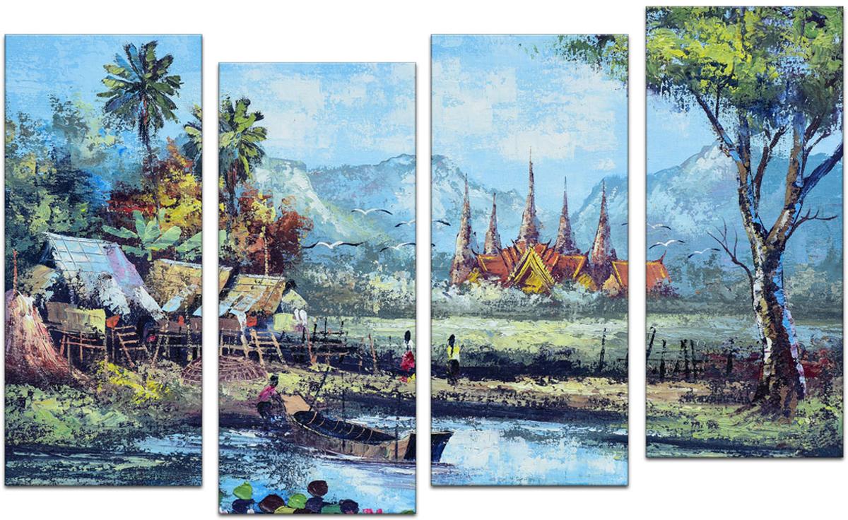 Картина модульная Картиномания Уотерсайд в Тайланде, 90 х 57 смАРТ-М528SВ состав входит комплект креплений и инструкция по креплению на стену.