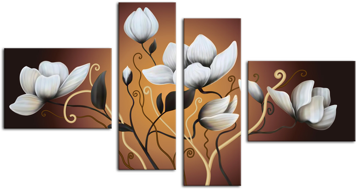 Картина модульная Картиномания Белые цветы, 90 х 50 смАРТ-М705SМодульная картина Картиномания - это прекрасное решение для декора помещения. Картинасостоит из четырех модулей. Цифровая печать. Холст натянут на деревянный подрамникгалерейной натяжкой и закреплен с обратной стороны. Изделие устойчиво к выцветанию.Размер изображения: 90 x 50 см.В состав входит комплект креплений и инструкция по креплению на стену.Уход: можно протирать сухой мягкой тканью.