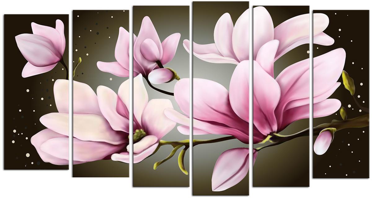 Картина модульная Картиномания Звездные розовые цветы, 90 х 50 смАРТ-М707SВ состав входит комплект креплений и инструкция по креплению на стену.