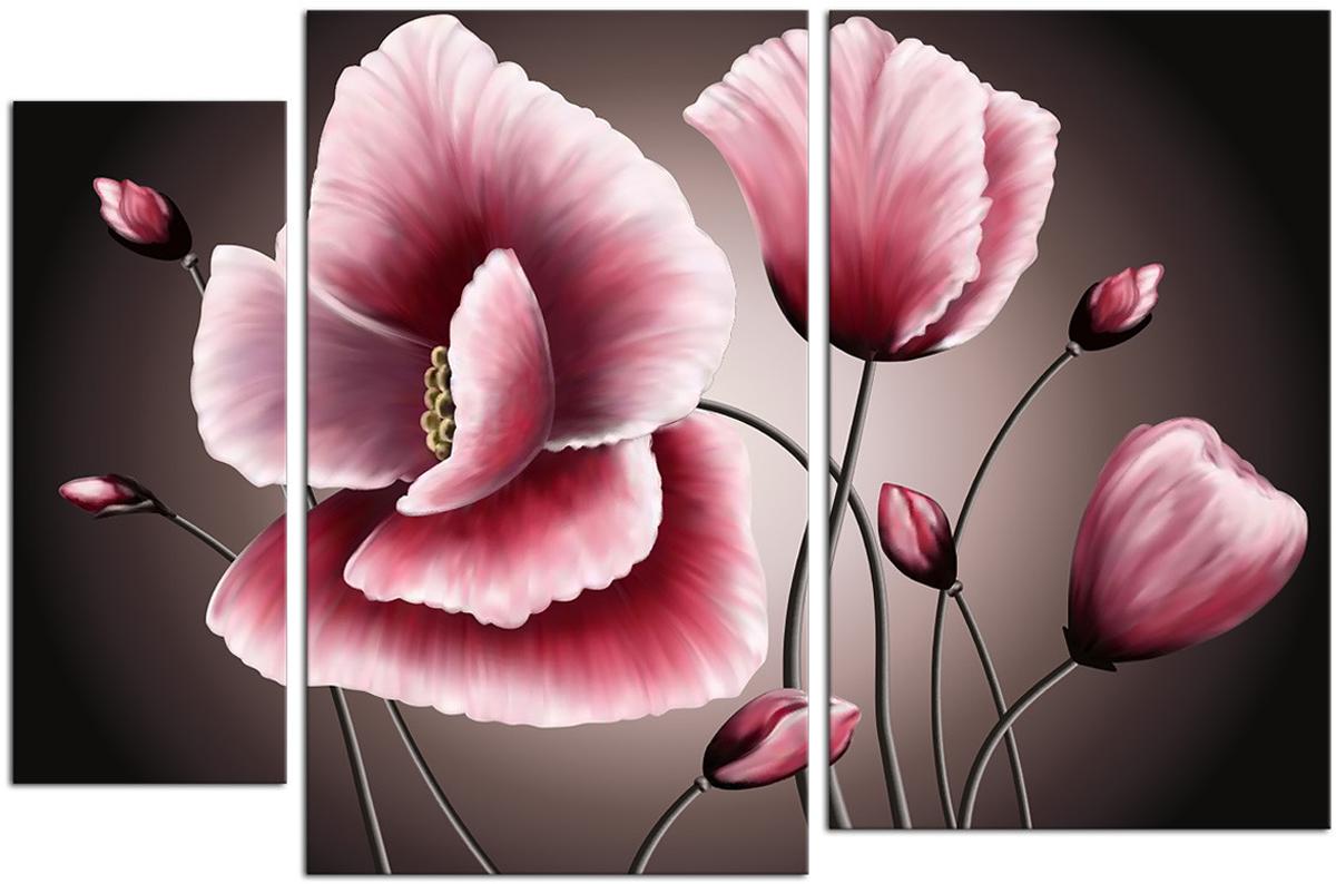 Картина модульная Картиномания Розовые бутоны, 90 х 60 смАРТ-М709SВ состав входит комплект креплений и инструкция по креплению на стену.