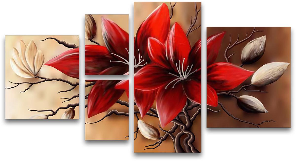 """Картина модульная Картиномания """"Красные цветы"""", 90 х 50 см"""