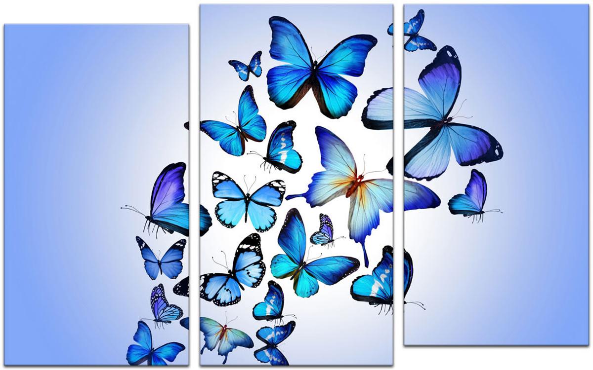 Картина модульная Картиномания Триптих голубые бабочки, 90 х 57 смАРТ-М759SМодульная картина Картиномания - это прекрасное решение для декора помещения. Картинасостоит из трех модулей. Цифровая печать. Холст натянут на деревянный подрамникгалерейной натяжкой и закреплен с обратной стороны. Изделие устойчиво к выцветанию. В состав входит комплект креплений и инструкция по креплению на стену.Уход: можно протирать сухой мягкой тканью.