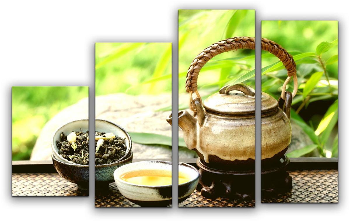 Картина модульная Картиномания Зеленый чай в саду, 90 х 57 см модульная картина топпостерс зеленый бамбук 100х75 см 2 части