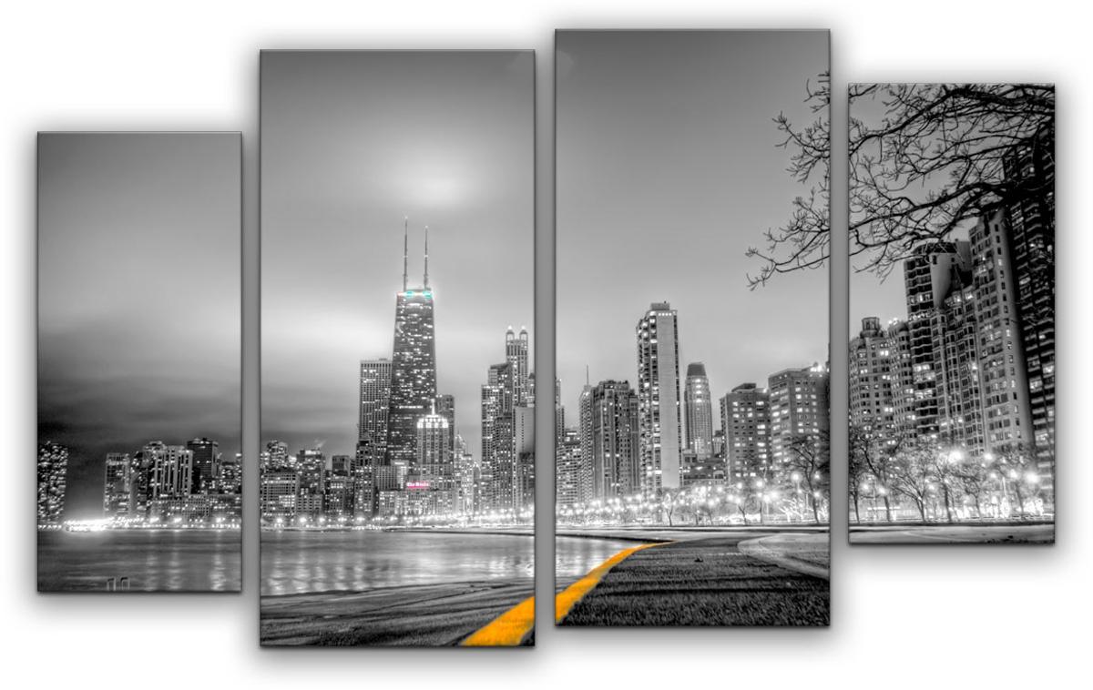 Картина модульная Картиномания Черно-белый город, 90 х 57 смАРТ-М797SВ состав входит комплект креплений и инструкция по креплению на стену.