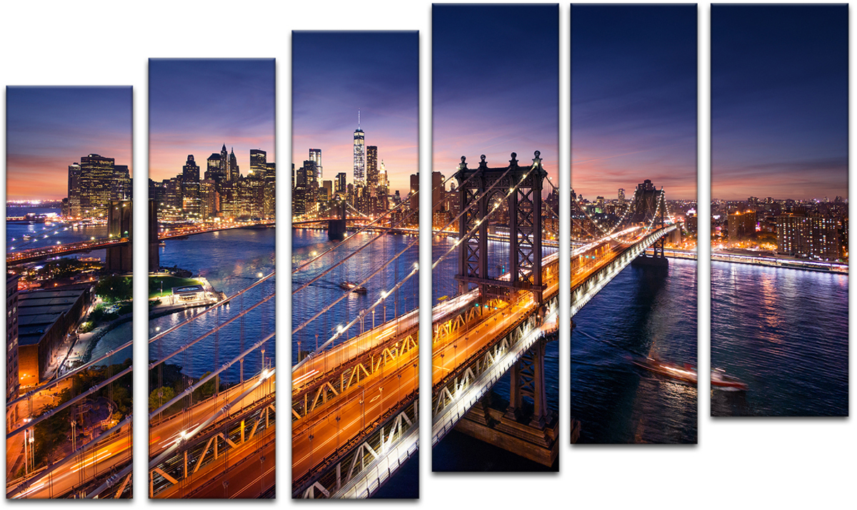 Картина модульная Картиномания Красивый закат на Манхеттене, 90 х 57 смАРТ-М81SВ состав входит комплект креплений и инструкция по креплению на стену.