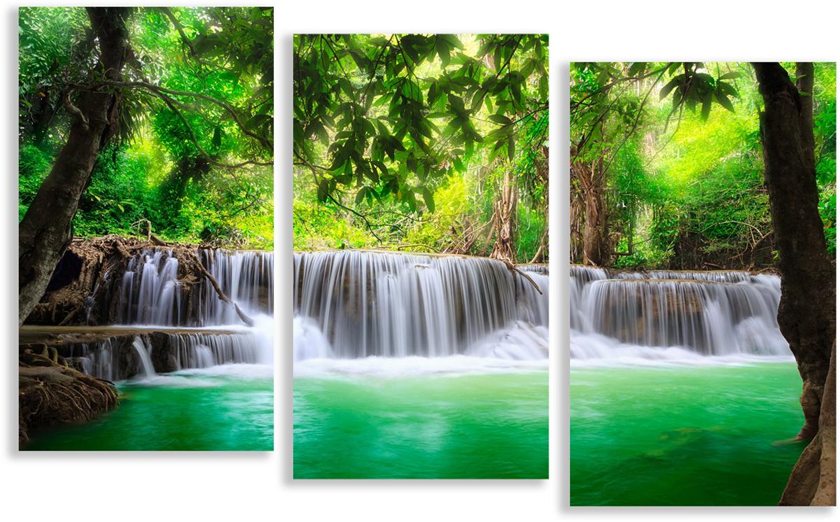Картина модульная Картиномания Дикий водопад, 90 х 57 смАРТ-М841SВ состав входит комплект креплений и инструкция по креплению на стену.