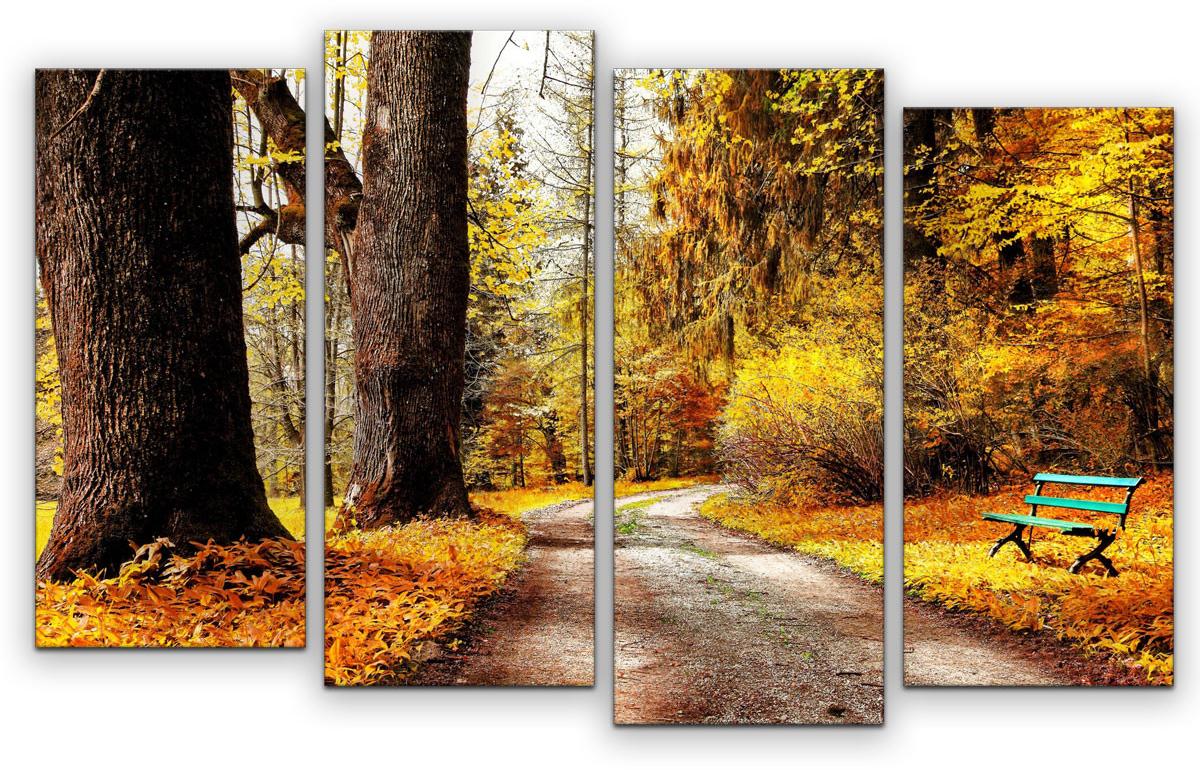 Картина модульная Картиномания Осенний лес, 90 х 57 смАРТ-М846SМодульная картина Картиномания - это прекрасное решение для декора помещения. Картинасостоит из четырех модулей. Цифровая печать. Холст натянут на деревянный подрамникгалерейной натяжкой и закреплен с обратной стороны. Изделие устойчиво к выцветанию. В состав входит комплект креплений и инструкция по креплению на стену.Уход: можно протирать сухой мягкой тканью.