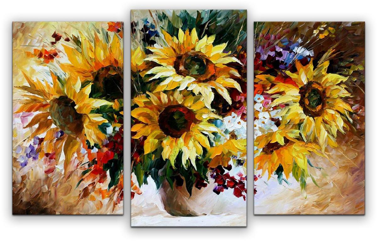 Картина модульная Картиномания Подсолнухи в вазе, 90 х 57 см картина цветы в коричневой вазе холст масло 75х75 см