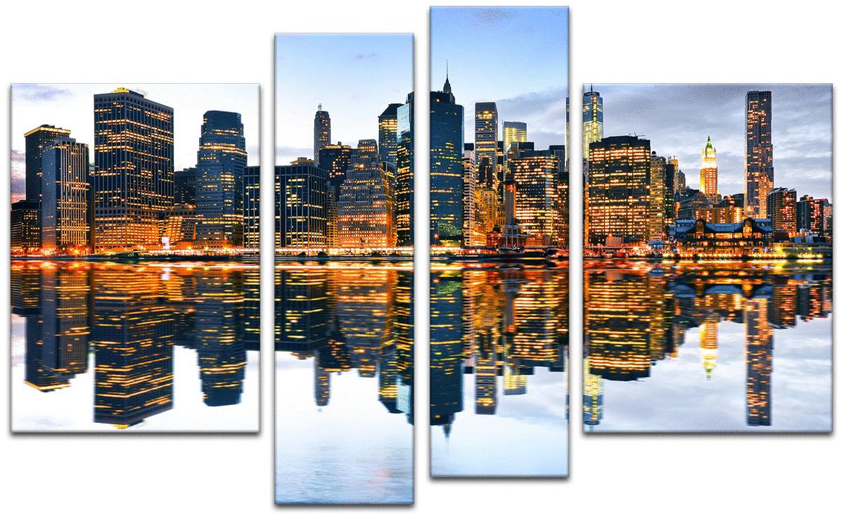 Картина модульная Картиномания Отражение Манхэттена в сумерках, 90 х 57 смАРТ-М90SМодульная картина Картиномания - это прекрасное решение для декора помещения. Картинасостоит из четырех модулей. Цифровая печать. Холст натянут на деревянный подрамникгалерейной натяжкой и закреплен с обратной стороны. Изделие устойчиво к выцветанию. В состав входит комплект креплений и инструкция по креплению на стену.Уход: можно протирать сухой мягкой тканью.