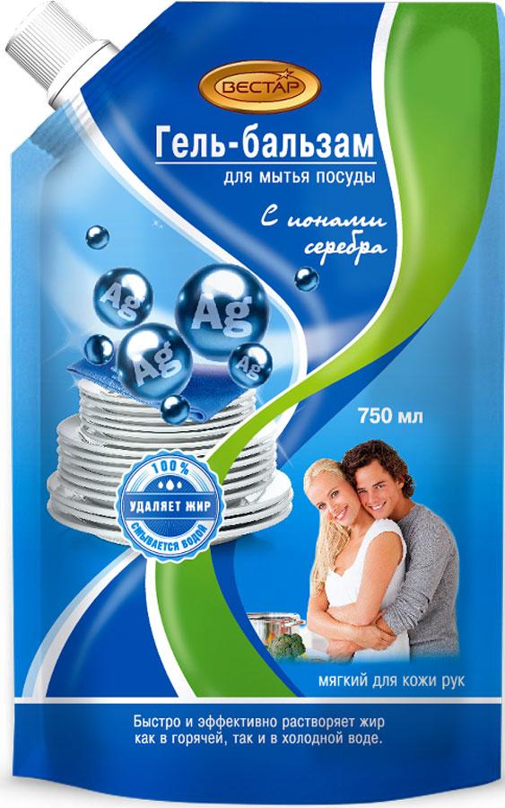 Гель-бальзам для мытья посуды Vestar Ионы серебра, 750 мл00-00000879Гель-бальзам для мытья посуды Vestar Ионы серебра быстро и эффективно растворяет и удаляет жир, как в горячей, так и в холодной воде.Полностью смывается водой.Мягкий для кожи рук.Содержит ионы серебра.Имеет приятный аромат.