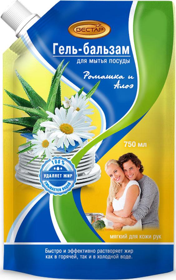 Гель-бальзам для мытья посуды Vestar Ромашка-Алоэ, 750 мл