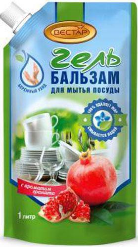 Гель-бальзам для мытья посуды Vestar Гранат, 1 л00-00000933Гель-бальзам для мытья посуды Vestar Гранат быстро и эффективно растворяет и удаляет жир, как в горячей, так и в холодной воде.Полностью смывается водой.Мягкий для кожи рук.Имеет приятный аромат граната.