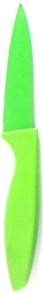 Нож кухонный Miolla, цвет: зеленый, длина лезвия 7,5 см1508100UУниверсальный нож от Miolla будет незаменим на кухне и легко разрежет любые виды продуктов. Нож оснащен лезвием из нержавеющей стали с декорированным покрытием. Нож легко моется - достаточно ополоснуть его в теплой воде и вытереть насухо полотенцем. Эргономичная рукоятка с протектором для пальцев удобно лежит в руке и обеспечивает комфортную резку. Не подходит для мытья в посудомоечной машине.
