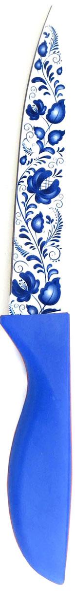 Нож кухонный Miolla, цвет: синий, длина лезвия 12,5 см1508113UУниверсальный нож от Miolla будет незаменим на кухне и легко разрежет любые виды продуктов. Нож оснащен лезвием из нержавеющей стали с декорированным покрытием. Нож легко моется - достаточно ополоснуть его в теплой воде и вытереть насухо полотенцем. Эргономичная рукоятка с протектором для пальцев удобно лежит в руке и обеспечивает комфортную резку. Не подходит для мытья в посудомоечной машине.