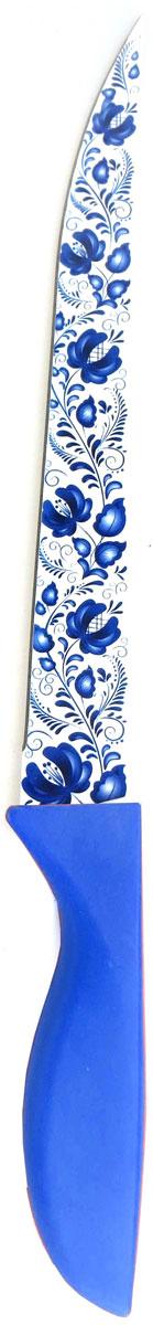 Нож кухонный Miolla, цвет: синий, длина лезвия 20 см1508116UУниверсальный нож от Miolla будет незаменим на кухне и легко разрежет любые виды продуктов. Нож оснащен лезвием из нержавеющей стали с декорированным покрытием. Нож легко моется - достаточно ополоснуть его в теплой воде и вытереть насухо полотенцем. Эргономичная рукоятка с протектором для пальцев удобно лежит в руке и обеспечивает комфортную резку. Не подходит для мытья в посудомоечной машине.