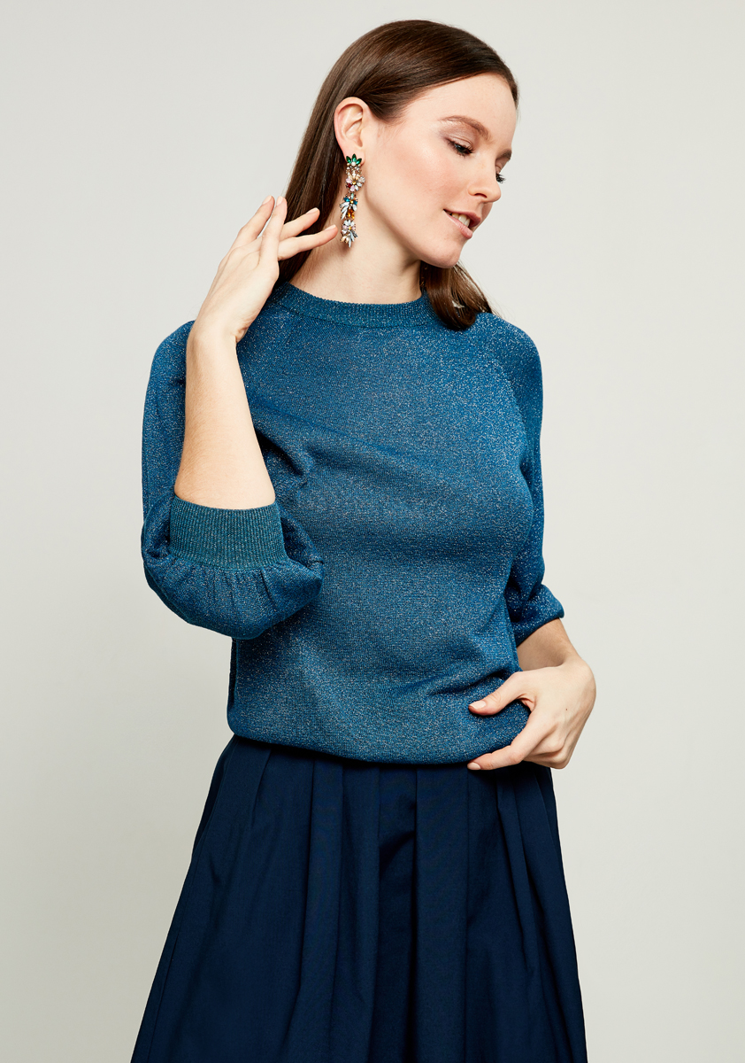 Джемпер женский Zarina, цвет: бирюзовый. 8122618815016. Размер S (44) джемпер женский zarina цвет сиреневый 8122621817087 размер s 44