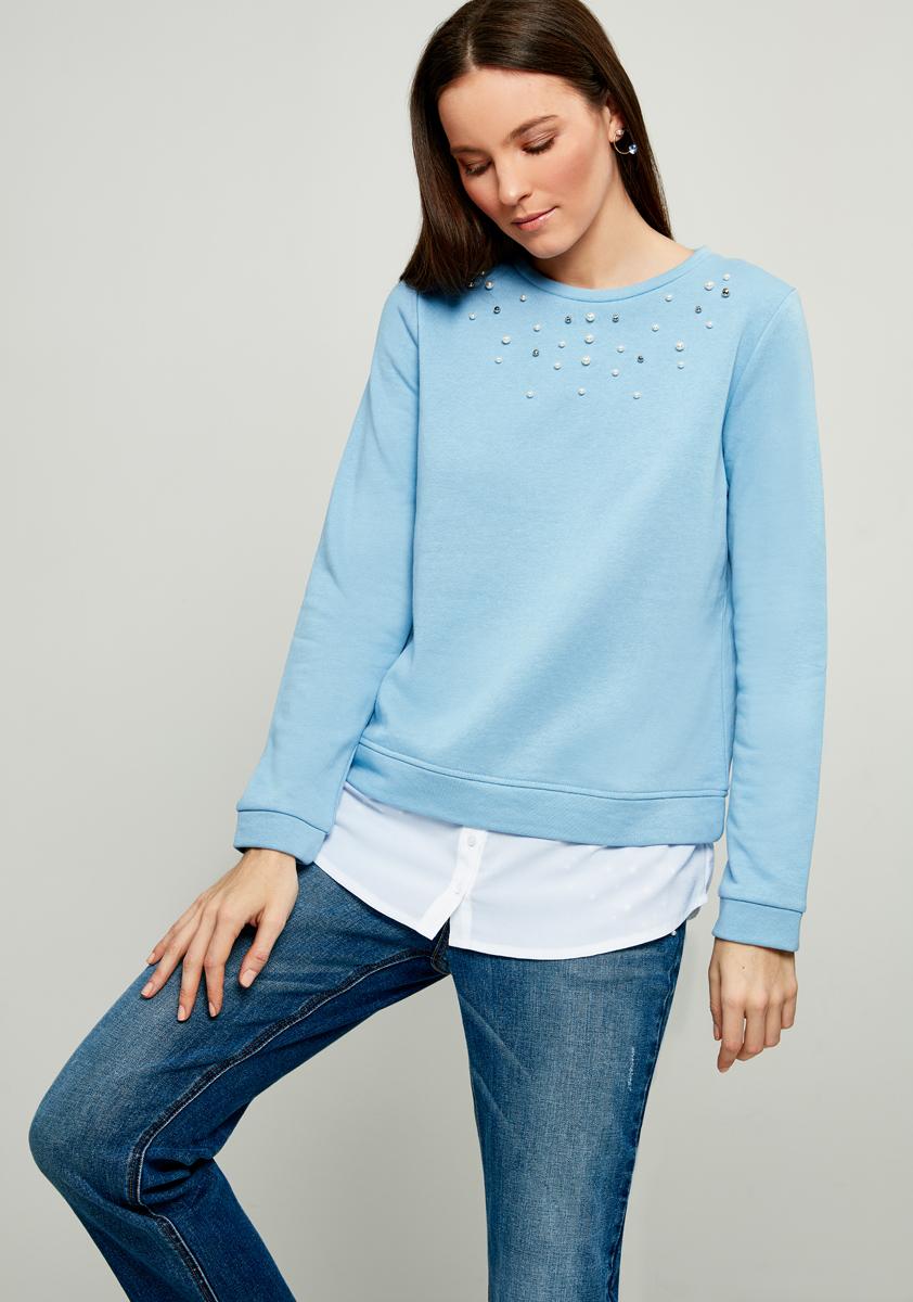 Джемпер женский Zarina, цвет: голубой. 8122531422041. Размер XS (42)8122531422041
