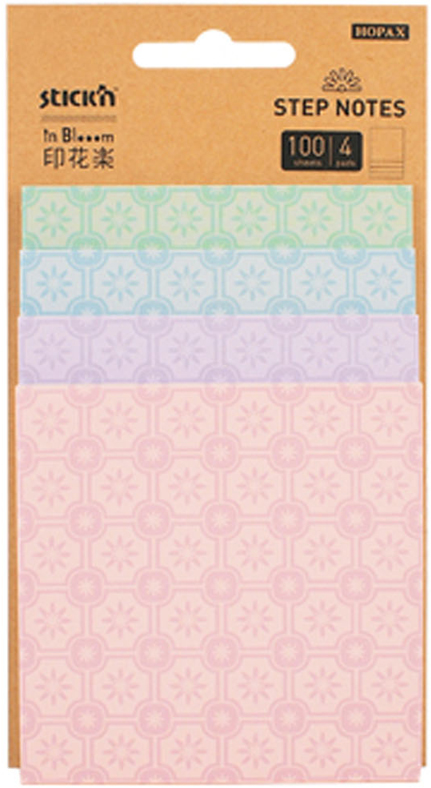 Stickn Блок самоклеящийся с рисунками inBlooom 100 листов 4 цвета 28073381360Набор блоков бумажных самоклеящихся inBloom Magic. 4 цвета с рисунком. 25 листов каждого размера. Размеры блоков: 76*76мм, 76*89мм, 76*101мм, 76*114мм. 4 блока соединены в 1 единый блок. Особенность блоков серии Magic - отсутствие клеевой полосы между блоков разного дизайна. Можно использовать лист с любым дизайном, даже из середины блока, не нарушив целостность всего блока.