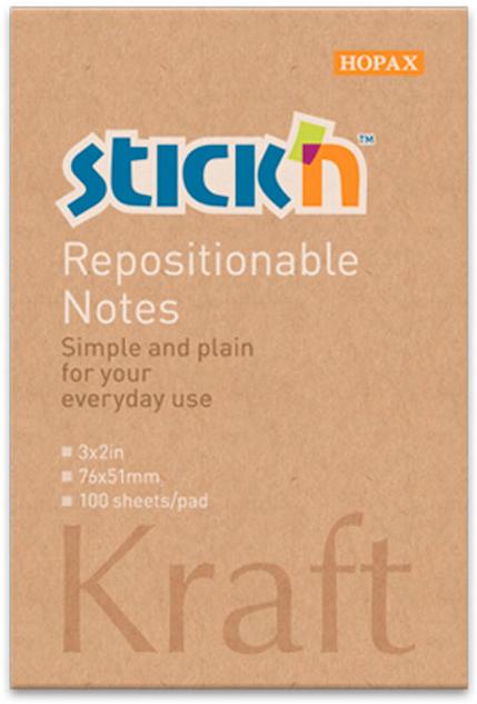 Stickn Блок самоклеящийся Kraft Notes 76 x 51 мм 100 листов381488Блок самоклеящийся Stickn выполненый из крафт-бумаги. Размер 76*76мм, 100 листов в блоке