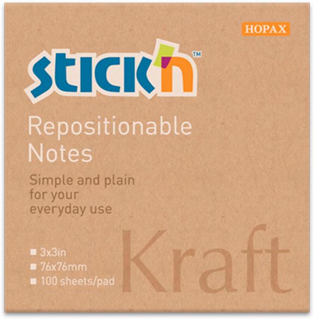 Stickn Блок самоклеящийся Kraft Notes 76 x 76 мм 100 листов381489Блок самоклеящийся Stickn выполненый из крафт-бумаги. Размер 76*76мм, 100 листов в блоке