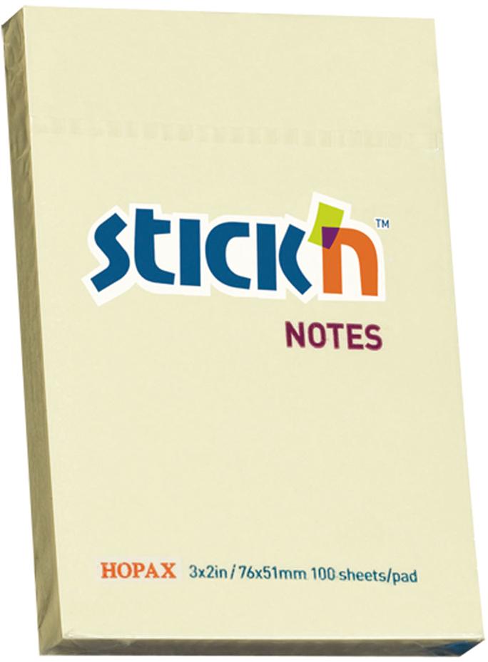 Stickn Блок пастельный самоклеящийся 51 x 76 мм 100 листов цвет желтый822586Блок самоклеящийся бумажный Stick`n, размер 51*76мм, 100 листов в блоке. Цвет - пастель желтый. Легко отклеиваются, не оставляя следов