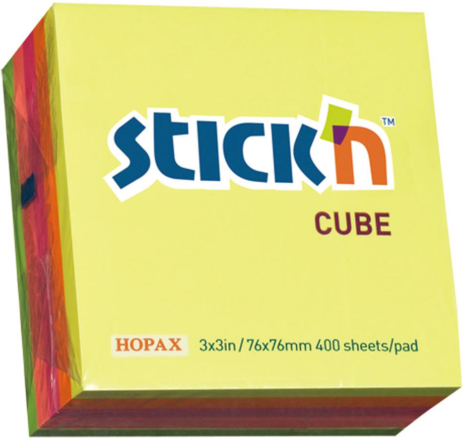 Stickn Блок неоновый самоклеящийся 76 x 76 мм 400 листов 5 цветов822592Яркие самоклеящиеся листочки привлекают к себе внимание и удобны для заметок, объявлений и других коротких сообщений. Легко крепятся к любой поверхности, не оставляют следов после отклеивания.