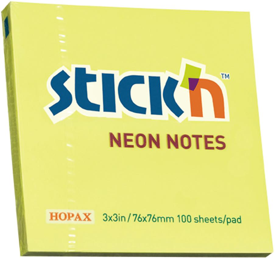 Stickn Блок неоновый самоклеящийся 76 x 76 мм 100 листов цвет желтый822628Блок самоклеящийся бумажный Stick`n, размер 76*76мм, 100 листов в блоке. Цвет - неон желтый. Легко отклеиваются, не оставляя следов