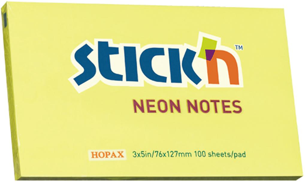 Stickn Блок неоновый самоклеящийся 76 x 127 мм 100 листов цвет желтый822630Блок самоклеящийся бумажный Stick`n, размер 76*127мм, 100 листов в блоке. Цвет - неон желтый. Легко отклеиваются, не оставляя следов