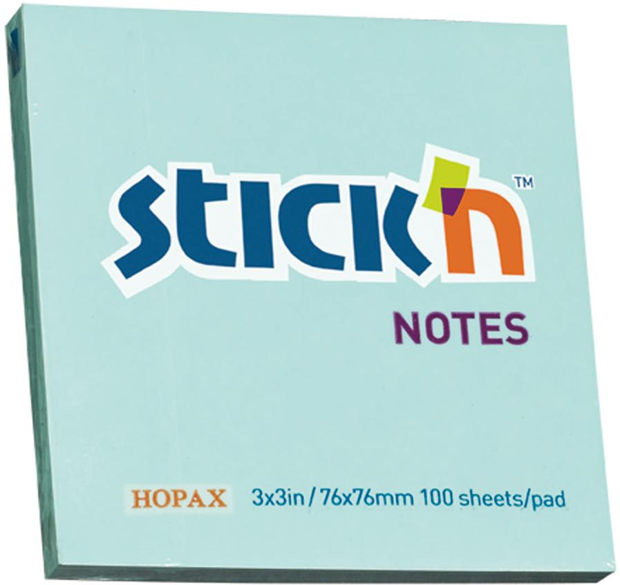 Stickn Блок пастельный самоклеящийся 76 x 76 мм 100 листов цвет голубой822641Блок самоклеящийся бумажный Stick`n, размер 76*76мм, 100 листов в блоке. Цвет - пастель голубой. Легко отклеиваются, не оставляя следов