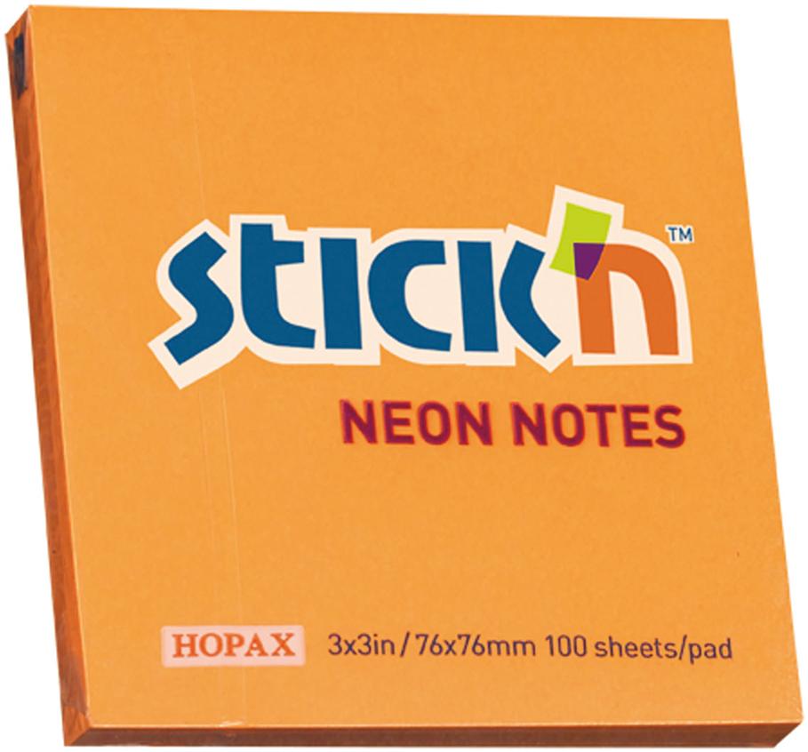 Stickn Блок неоновый самоклеящийся 76 x 76 мм 100 листов цвет оранжевый822655Блок самоклеящийся бумажный Stick`n, размер 76*76мм, 100 листов в блоке. Цвет - неон оранжевый. Легко отклеиваются, не оставляя следов