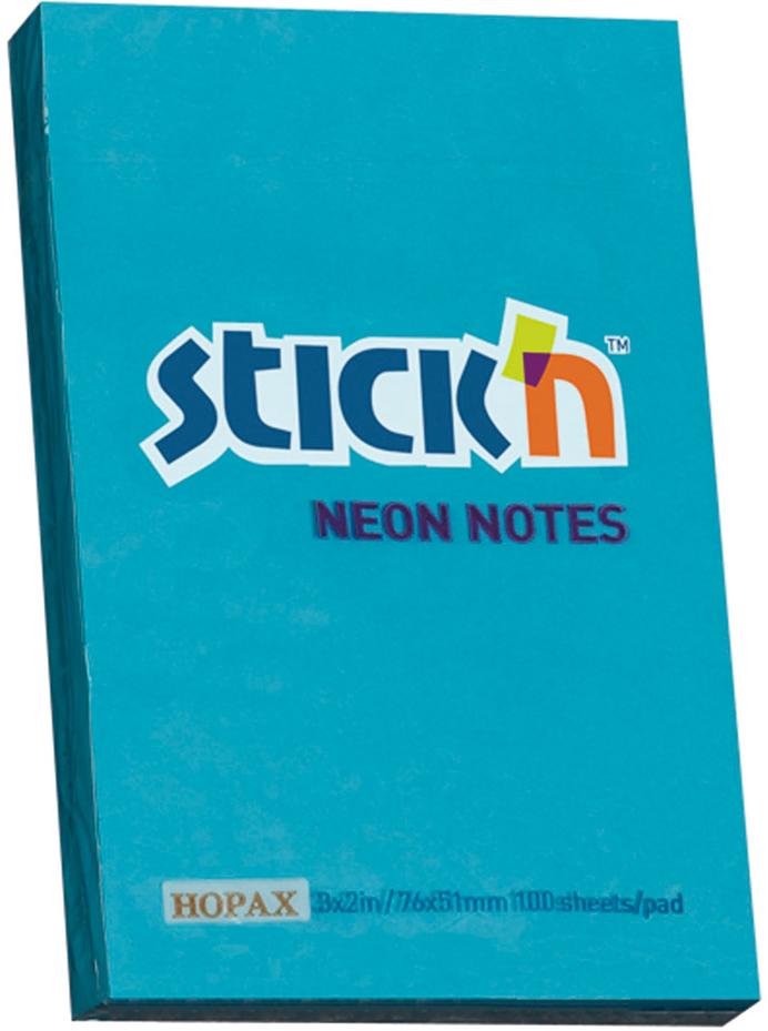 Stickn Блок неоновый самоклеящийся цвет голубой 51 x 76 мм 100 листов822676Самоклеящиеся листочки привлекают к себе внимание и удобны для заметок, объявлений и других коротких сообщений. Легко крепятся к любой поверхности, не оставляют следов после отклеивания.