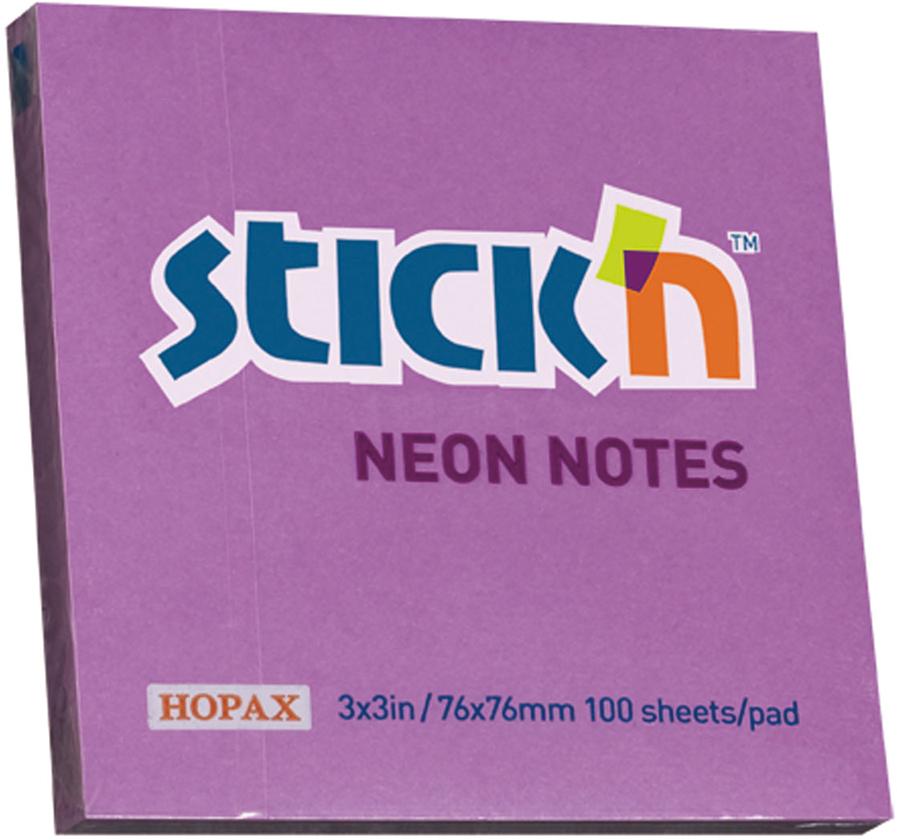 Stickn Блок неоновый самоклеящийся 76 x 76 мм 100 листов цвет фиолетовый822679Блок самоклеящийся бумажный Stick`n, размер 76*76мм, 100 листов в блоке. Цвет - неон фиолетовый. Легко отклеиваются, не оставляя следов