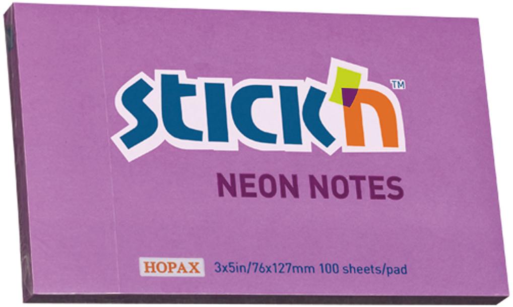 Stickn Блок неоновый самоклеящийся 76 x 127 мм 100 листов цвет фиолетовый822681Блок самоклеящийся бумажный Stick`n, размер 76*127мм, 100 листов в блоке. Цвет - неон фиолетовый. Легко отклеиваются, не оставляя следов