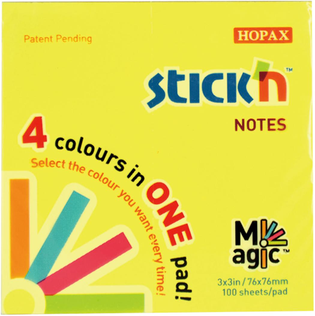 Stickn Блок неоновый самоклеящийся Magic 76 x 76 мм 100 листов 4 цвета851066Яркие самоклеящиеся листочки привлекают к себе внимание и удобны для заметок, объявленийи других коротких сообщений. Легко крепятся к любой поверхности, не оставляют следов послеотклеивания. Технология Magic Pad не имеет клеевой полосы между листами разных цветов, чтопозволяет отделить стикер любого цвета, не нарушая целостности блока.