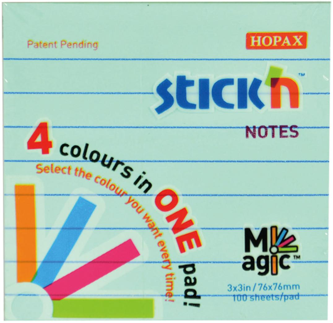 Stickn Блок пастельный самоклеящийся Magic 76 x 76 мм 100 листов 4 цвета897389Блок для записи самоклеящийся. Листы в блоке разлинованы. Размер 76*76мм, 100 листов. 4 цвета в блоке. Пастельные цвета. Больше не придется покупать 4 блока стикеров разных цветов или ограничиваться блоком одного цвета, Stick'n предлагает элегантное решение – блоки Magic Pad. Они не имеют клеевой полосы между листами разных цветов, что позволяет отделить стикер любого цвета, не нарушая целостности блока.