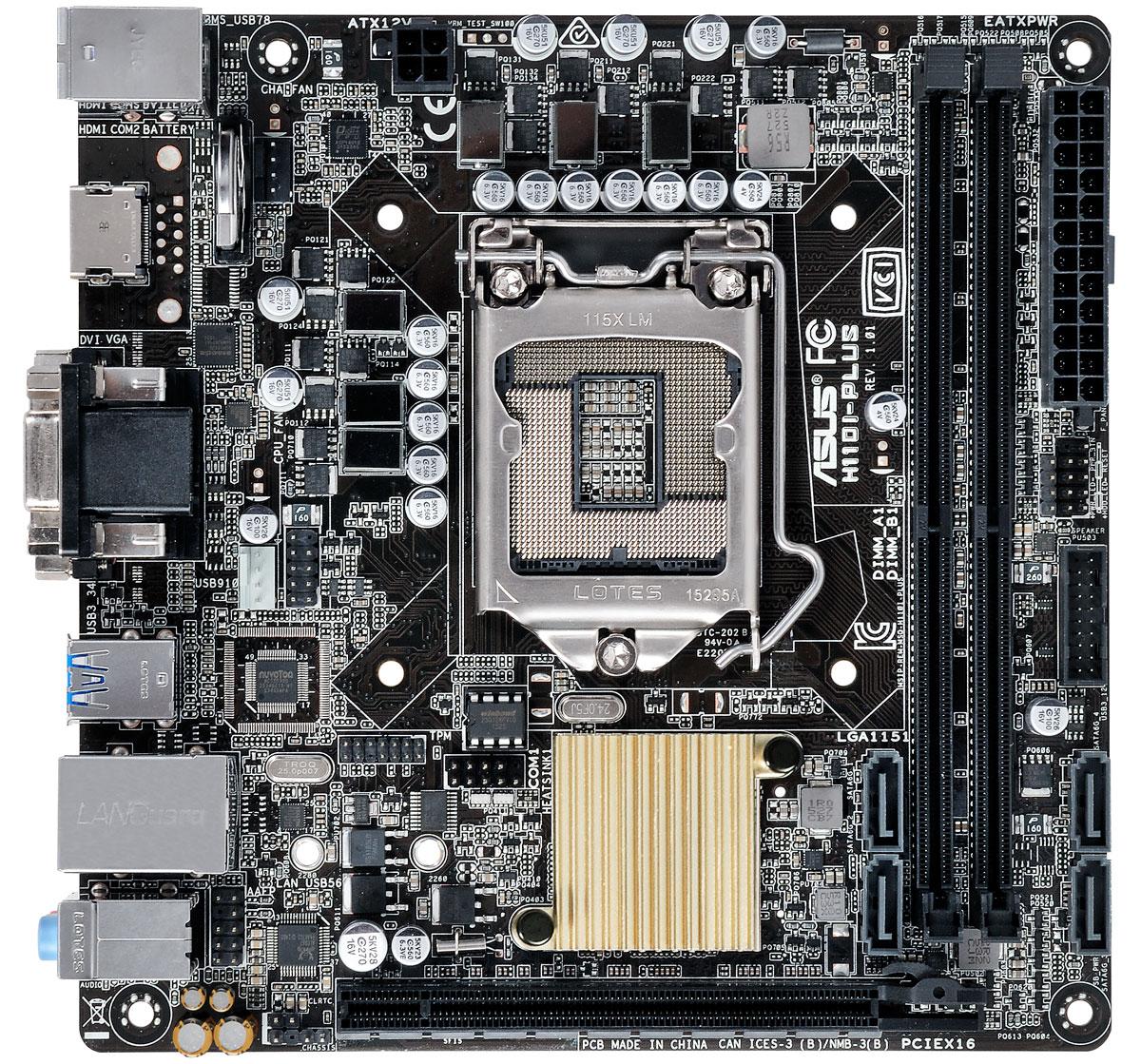 ASUS H110I-Plus материнская платаH110I-PLUSASUS H110I-PLUS - функциональная материнская плата формата mini-ITX на базе чипсета Intel H110.Материнские платы ASUS могут похвастать долгим сроком службы за счет технологии 5X Protection II, которая охватывает целый ряд инженерных решений, служащих для защиты от электрических перегрузок, коррозии, электростатических разрядов и прочих неприятностей.В системе питания данной материнской платы используются стабилизаторы, обеспечивающие защиту от перепадов напряжения, которые могут возникнуть при использовании блоков питания не самого высокого качества.Данная материнская плата дает возможность вывести на переднюю панель компьютерного корпуса два высокоскоростных порта USB 3.0.Слоты памяти оснащаются удобными односторонними защелками, расположенными у края материнской платы. Благодаря им вставлять и извлекать модули памяти не составит ни малейшего труда.Интеллектуальная система ASUS Fan Xpert регулирует скорость процессорного кулера и корпусных вентиляторов в зависимости от загрузки системы и температуры окружающей среды, обеспечивая бесшумную работу компьютера.Все эксклюзивные функции и технологии ASUS доступны посредством единого программного интерфейса ASUS AI Suite 3. С его помощью можно осуществлять разгон компьютера, управлять параметрами энергопотребления и вентиляторами, изменять напряжения и следить за состоянием системы. Единый интерфейс избавляет пользователя от необходимости переключаться между дюжиной разных утилит.