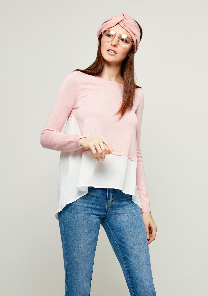 Джемпер женский Zarina, цвет: светло-розовый. 8123625821097. Размер L (50)8123625821097Джемпер Zarina выполнен из высококачественного материала. Модель с круглым вырезом горловины и длинными рукавами, дополнена на манжетах резинкой.