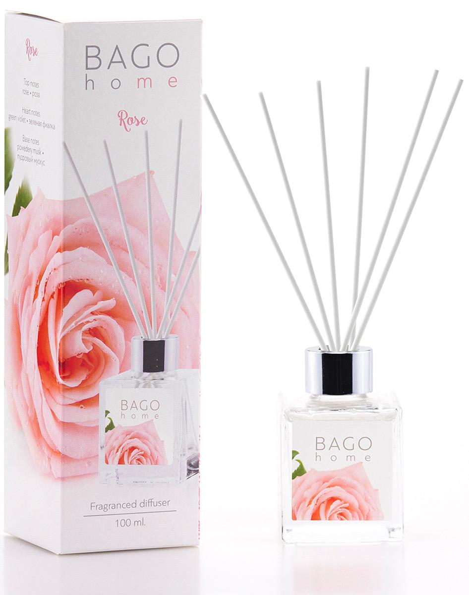 Диффузор ароматический BAGO home Роза, 100 мл ароматический диффузор cristalinas premium для жилых помещений с ароматом магнолии 180 мл