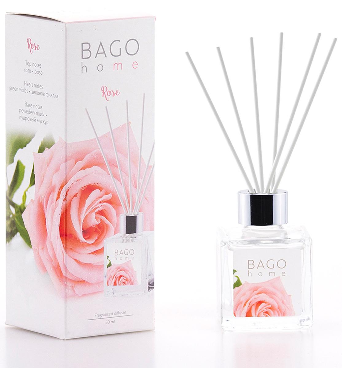 Мини-диффузор ароматический BAGO home Роза, 50 млBGH0604Роза – королева цветов. Ароматический диффузор Роза от Bago home наполнит ваш дом истинно королевским ненавязчивым ароматом. Ароматы разработаны ведущими парфюмерными домами Европы. В производстве использованы передовые технологии. Уникальная рецептура на основе компонентов растительного происхождения.