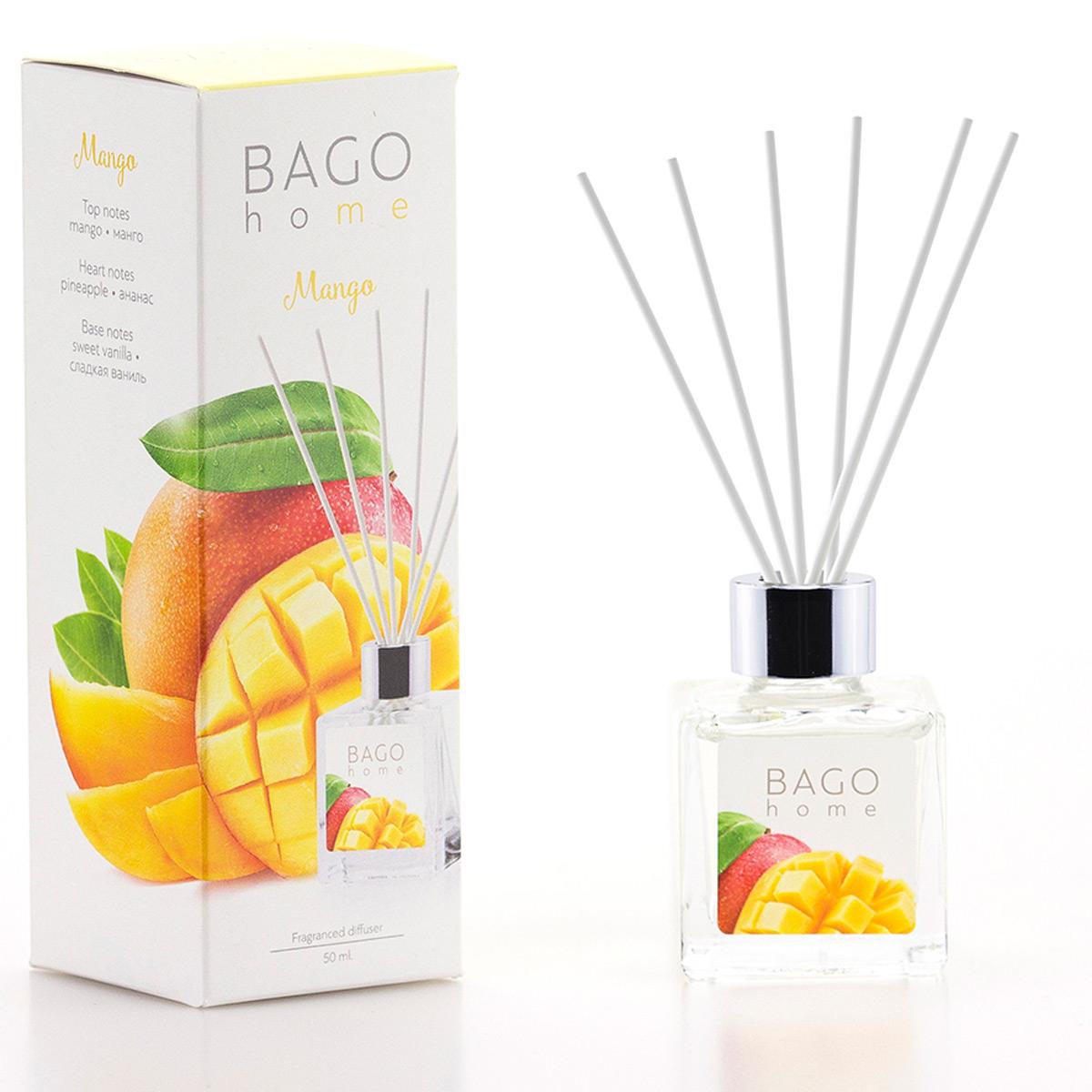 Мини-диффузор ароматический BAGO home Манго, 50 мл ароматический диффузор cristalinas premium для жилых помещений с ароматом магнолии 180 мл
