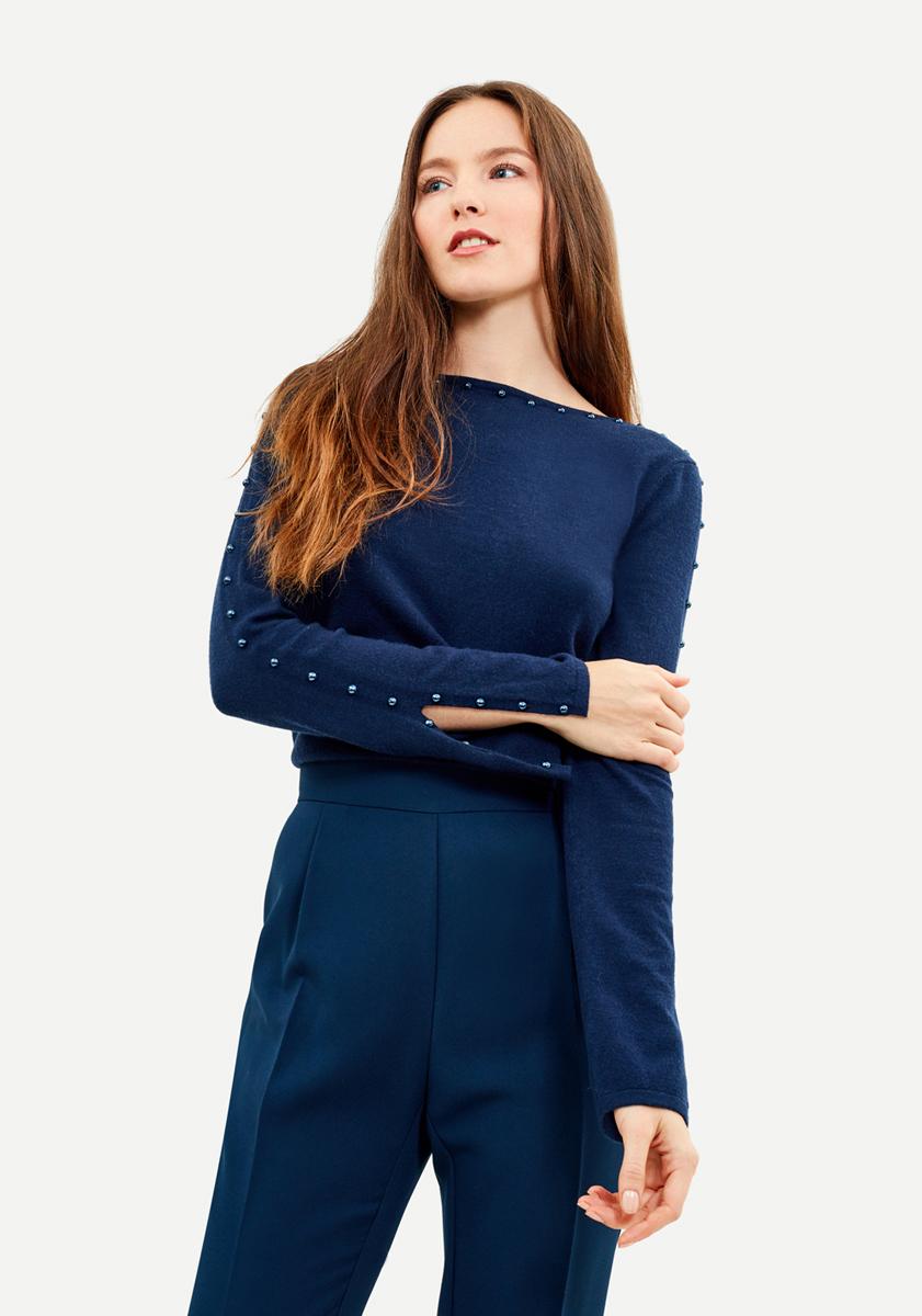 Джемпер женский Zarina, цвет: темно-синий. 8121620818047. Размер S (44) джемпер женский zarina цвет бирюзовый 8122613810016 размер s 44